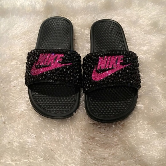 Custom Swarovski Crystal Nike Benassi Slides ec6402a67